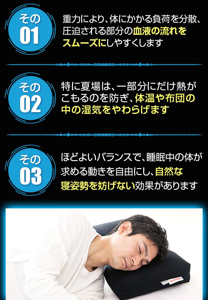 寝返りによって血液の流れをスムーズにし体温や布団の中の湿気を和らげ自然な寝姿勢を妨げない効果がある