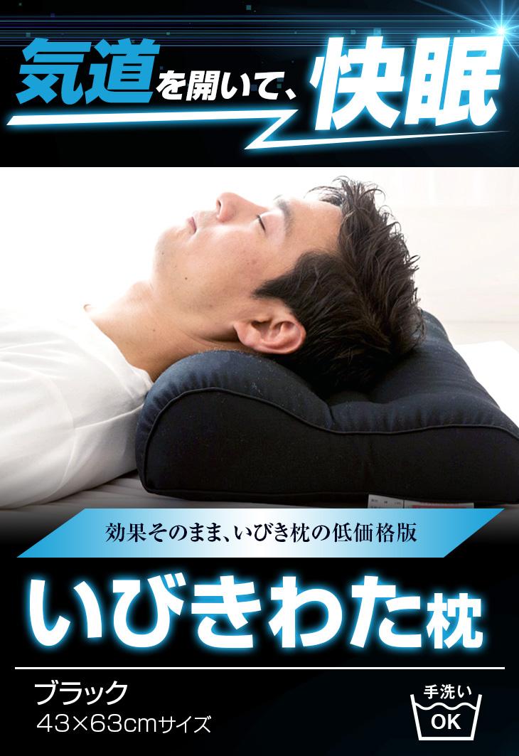 いびき対応いびき枕 低価格入門版 気道を開き呼吸しやすくする、いびき対応の洗えるいびきわた枕です