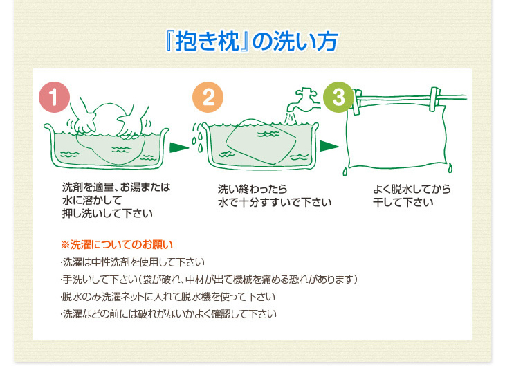リビングインピースの抱きまくらの洗い方