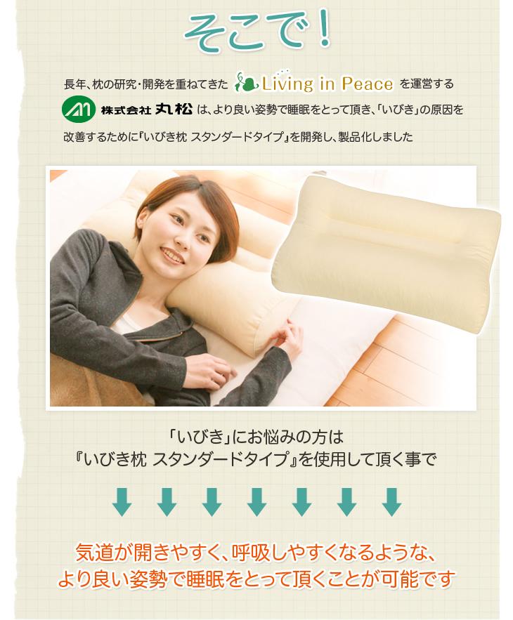 リビングインピースのいびき対応いびき枕はいびきをかきにくくする為に研究開発された枕です