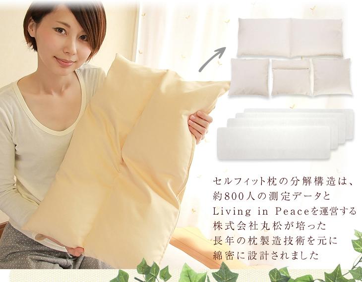 リビングインピースのセルフィット枕(つぶわた)の分解構造は約800人の測定データとリビングインピースを運営する株式会社丸松が培った長年の枕製造技術を元に線密に設計されました