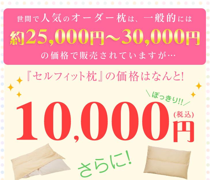 一般的にオーダー枕は25000円から30000円の価格で販売されていますが、オーダー枕の入門編、リビングインピースのセルフィット枕(つぶわた)はぽっきり10000円!