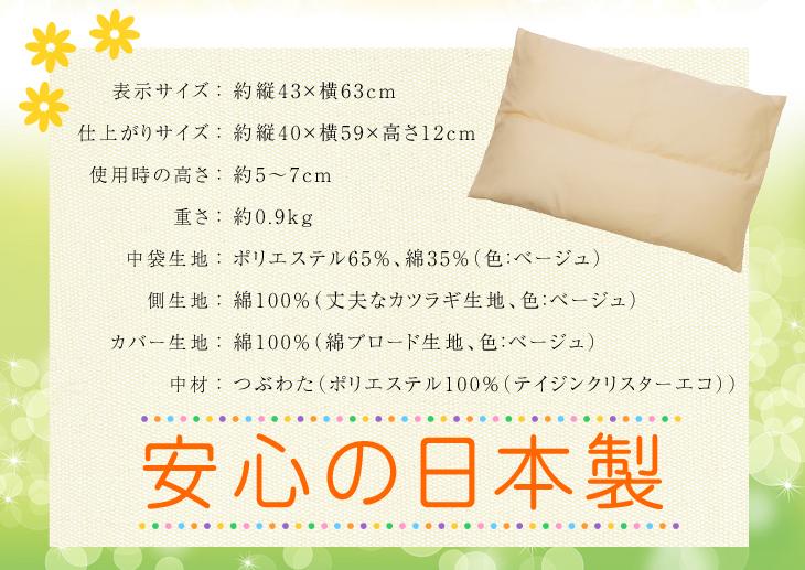 オーダー枕の入門編、リビングインピースのセルフィット枕(つぶわた)は安心の日本製