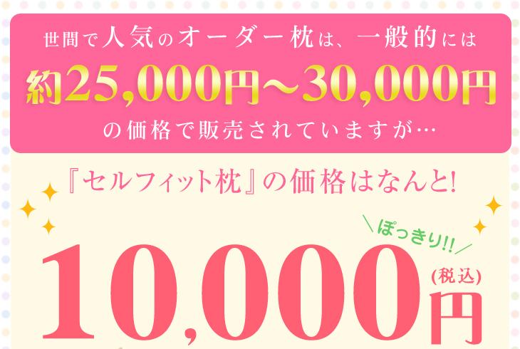 一般的なオーダー枕の価格は25000円から30000円ですが、リビングインピースのセルフィット枕の価格はこの品質で10000円です