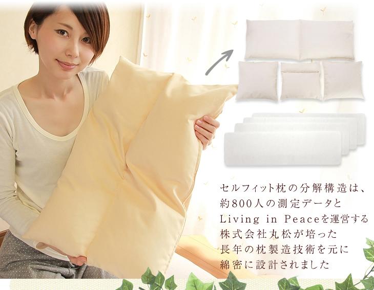 リビングインピースのセルフィット枕の分解構造は約800人の測定データとリビングインピースを運営する株式会社丸松が培った長年の枕製造技術を元に線密に設計されました