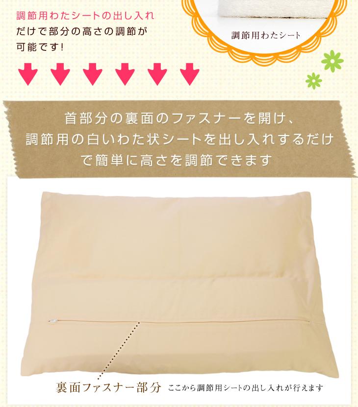 リビングインピースのセルフィット枕の首部分の調節方法