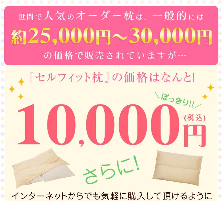 オーダー枕は一般的に25000円から30000円の価格で販売されていますがオーダー枕の入門編、リビングインピースのセルフィット枕はこの品質でぽっきり10000円のお買い求めやすさ